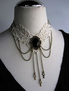 Brass and lace choker with beautiful black faceted cabochon focal. An elegant piece for the bride with a touch of goth and plenty of Victorian Steampunk charm. Goth Jewelry, Lace Jewelry, Pearl Jewelry, Jewelry Crafts, Jewelery, Jewelry Accessories, Fashion Jewelry, Gothic Jewellery, Bullet Jewelry