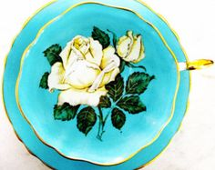 Paragon Queen Mary White Rose Turquoise 1940's Tea Cup and Saucer - Edit Listing - Etsy
