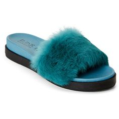 Elena Real Fur Slide Sandals ($100) ❤ liked on Polyvore featuring shoes, sandals, blue, open toe wedge sandals, metallic sandals, open toe shoes, wedge slide sandals and blue wedge shoes