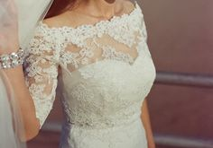 """LOVE this off the shoulder lace bolero - the bride added it to her strapless LaSposa """"Denia"""" dress. From Etsy - http://etsy.com/shop/alexbridal  / Photography by carmensantorellistudio.com"""