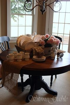 Buffet Tablescapes | Tablescapes / StoneGable: Farm Table Buffet  LOVE THIS