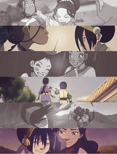 Toph and Karata I love how they acted like sisters