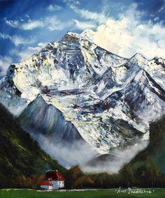 Jungfrau by Nino Ponditerra Mountain Paintings, Mountain Landscape, Landscape Paintings, Landscapes, Original Paintings, Canvas Paintings, New Art, Colorful Backgrounds, Fine Art America