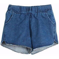 Split Elastic Waist Denim Shorts ($14) ❤ liked on Polyvore