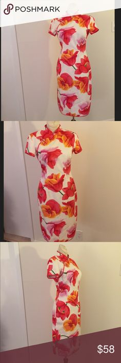 Oriental style dress Lovely vintage floral, cotton oriental style shift/dress Dresses Midi