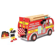 Buy Le Toy Van: Budkins - World Fire Engine Set at Mighty Ape NZ. Brave the inferno with the Fire Engine Set from Le Toy Van, a painted wooden fire engine set complete with accessories; Fire Truck Games, Truck Games For Kids, Fire Trucks, Fire Engine Toy, Van Kitchen, Emergency Vehicles, Baby Toys, Wooden Toys, Shelter