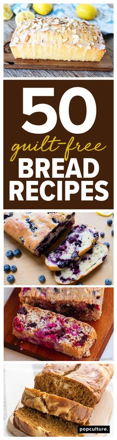Treat yourself to the delicious aroma of bread in the oven! We found 50 of your favorite bread recipes — all made skinny, so you can enjoy without the guilt. Popculture.com #breadrecipe #lowcalorie #lowcaloriebread #moistbread #skinnyrecipe #diet #healthyrecipe #recipe #dietrecipe