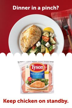 Keep Tyson Individually Frozen Chicken Breasts in your freezer for a mealtime standby. From pack to pan to plate, dinner is served in 20 mins. Rib Meat, Cooking Recipes, Healthy Recipes, Frozen Chicken, Dinner Is Served, Chicken Breasts, Freezer, Salad Recipes, Chicken Recipes