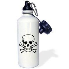 3dRose Skull and Crossbones, Sports Water Bottle, 21oz