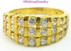 Gold Vermeil Sterling 925 Triple Row Channel Set Cubic Zirconia Band Ring Size 8 #Unbranded #Band