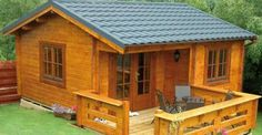 This Bertsch Utah log cabin from Simply Log Cabins, in the United Kingdom, is the perfect little backyard or woodland retreat.only 5 x 5 meters.for a tiny study or studio.