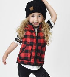 Buffalo Plaid Vest for Girls – Rose Gold Vintage