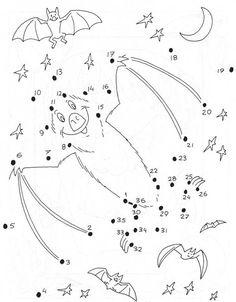 Dot-to-dot pictures - bat. Halloween Decorations For Kids, Halloween Arts And Crafts, Halloween Crafts For Toddlers, Halloween Kids, Halloween Themes, Halloween Coloring Pages, Halloween Pictures, Preschool Art, Dots