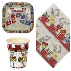 Brave Knights themed party pack for 12 guests. Quality Knights tableware pack with coordinating party bags, bunting and decorations. Just one click away. Party Kit, Party Packs, Party Ideas, Castle Party, Knight Party, Knights Helmet, Party Themes For Boys, Dragon Knight, Dragon Party