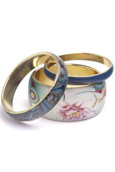 Desigual THESEA Bracelet Royal Blue Set of 3 bangles 70 RESIN 30 BRASS 31G5542 £29