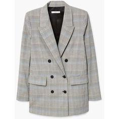 MANGO Prince of Wales blazer (€65) via Polyvore featuring outerwear, jackets, blazers, mango blazer, quilted jackets, mango jackets, plaid lined jacket and fleece-lined jackets