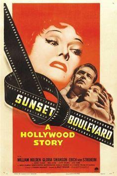 William Holden, Gloria Swanson, Erich von Stroheim. Director: Billy Wilder. IMDB: 8.5 _____________________________ https://en.wikipedia.org/wiki/Sunset_Boulevard_%28film%29 http://www.tcm.com/tcmdb/title/4254/Sunset-Blvd-/ Article: http://www.tcm.com/tcmdb/title/4254/Sunset-Blvd-/articles.html http://www.allmovie.com/movie/sunset-boulevard-v47703 http://www.rogerebert.com/reviews/great-movie-sunset-boulevard-1950