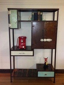 eclectic vintage industrial display unit