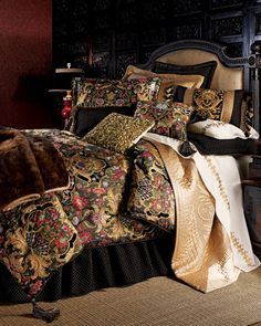 """Sherry Kline Home Collection """"Gustone"""" Bed Linens / Tapestry-like linens mix with faux fur to form an irresistible array of pattern and texture."""