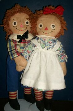 Adorable Pair of Early Ca 1940s Georgene, Johnny Gruelle Raggedy Ann and Andy Dolls
