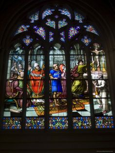 15th Century Stained Glass Window in the Cathedrale St-Corentin, Southern Finistere, France