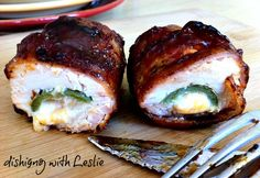 Dishing With Leslie: Chicken Bombs - These look so amazing!  Stuffed with jalepenos, cream cheese, and cheddar!  Yum!  #recipe #chicken