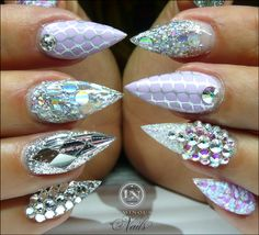 luminous-nails-beauty-gold-coast-qld.-silver-lilac-nails.-acrylic-gel-nails.-bling-nails.-nail-art-design-nails.-glitter-nails.-purple-nails.-metallic-nails..jpg IF NAILS ARE GOING TO BE BUSY THEY BETTER BE EXTRA GLAMOROUS~tvs