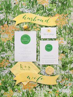 Bright green and lemon yellow paper details for a colorful Southern wedding! Photo: Ashley Seawell / Event Planning & Design: A Charleston Bride / Printed Materials: Sweet Magnolia Paper