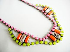 One Of  A Kind Neon Pink Yellow and by LoveObsessed