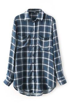 Pocketed Check Print Shirt