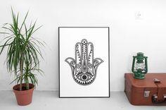 Hamsa Print Hamsa Hand Lotus Flower Art Decorative by ParadigmArt