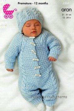 PDF Knitting Pattern for an Aran Knit Baby Onsie or Hooded All-In-One Suit, Coat & Hat - Premature - 12 months  - Instant Download