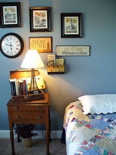 Vintage Suitcase on table - for guest bedroom - and the art on the wall.