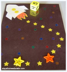 Addition and Subtraction –Introduce some basic adding and subtracting concepts with this game board. The goal is to be the first to move your buttons to the rocket. Take turns rolling a dice. The first roll count the correct stars to move closer to the rocket. The second roll moves you away. The third moves you closer. The pattern continues until finally a star button reaches the rocket.