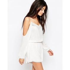 Wyldr Soul Romper With Cold Shoulder And Lace Detail ($49) ❤ liked on Polyvore featuring jumpsuits, rompers, white, white romper, white rompers, long-sleeve romper, playsuit romper and tall romper