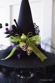 DIY Witch Hat - Halloween Decor from Just a Girl. Differently decorated witch hats or shoes would look cute across the entertainment center. Spooky Halloween, Holidays Halloween, Halloween Crafts, Halloween Decorations, Halloween Party, Halloween Centerpieces, Halloween Wreaths, Halloween Witch Costumes, Halloween Makeup