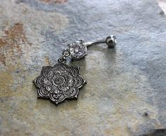 Mandala Flower Belly Button Ring Swarovski Crystal by Purityjewel