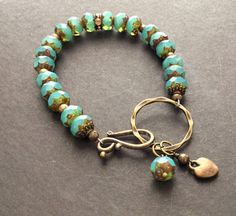 Aqua Picasso Czech Glass Beaded Bracelet