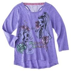 Monster Chic Girls' 3/4 Sleeve High Low Top - Purple