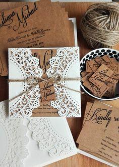 Napperon Laser Cut Invitation mariage, Invitation mariage Kraft rustique, Invitation de mariage de dentelle, carte d