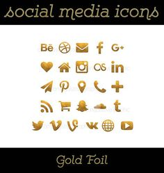 social media icons gold foil icons gold buttons website icons blog icons business card icons social media button branding template - Social Media Icons For Business Cards