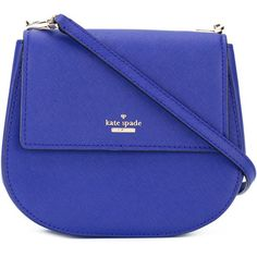 Kate Spade logo plaque crossbody bag ($307) ❤ liked on Polyvore featuring bags, handbags, shoulder bags, blue, kate spade purses, blue shoulder bag, leather crossbody purse, leather shoulder handbags and leather cross body purse