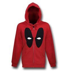 Images of Deadpool Mask Zip-Up Red Hoodie
