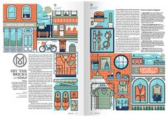'We were asked by Monocle to create an opening two-page illustration to introduce their editorial on retail and shopping in the high street.'