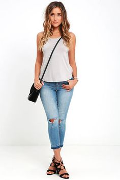 04f427c7ea LULUS Exclusive What s Strap-pening  Light Grey Tank Top