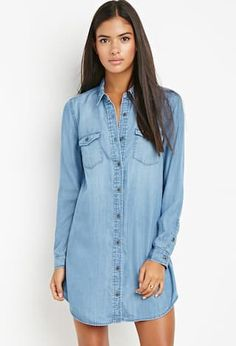 Everyday Style: 4 Simple Outfit Ideas   Sweenee Style Collared Shirt Dress, Button Down Shirt Dress, Long Shirt Dress, Chambray Dress, Collar Dress, Outfits Con Camisa, Casual Dresses For Women, Clothes For Women, 21 Dresses