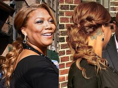 THE PERFECT LOW PONY  Queen Latifah's soft, romantic ponytail only looks like it took a lot of effort. It's actually surprisingly easy to recreate: twist the sides of hair back and pin them into place, then make a ponytail and cover the elastic with a section from underneath. Have a few minutes to spare? Curl the ends.