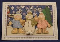 Snowman and Friends (8 x 6 decoupaged card)