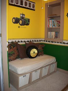 I like that John Deere tractor tire pillow! John Deere Boys Room, John Deere Bedroom, Tractor Bedroom, Bedroom Images, Bedroom Themes, Kids Bedroom, Bedroom Decor, Bedroom Ideas, Farm Bedroom