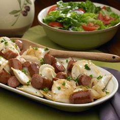 Polish Kielbasa and Pierogies Recipe from our friends at Johnsonville®